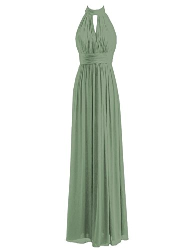 Bridesmaid Dresses Long Prom Dress Chiffon Halter Evening Gowns Pleat Wedding Party Dress Pastel Green L