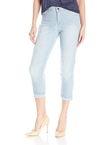 (LEE Women's Easy Fit Cameron Cuffed Capri Jean, Bleach Railroad Stripe)
