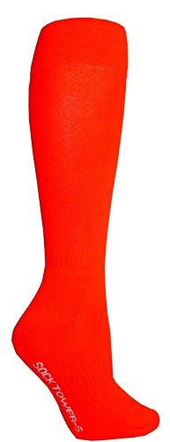 Socktower Men's Sports Baseball Softball Knee High Socks-shoe Size 6-12 Dark Orange