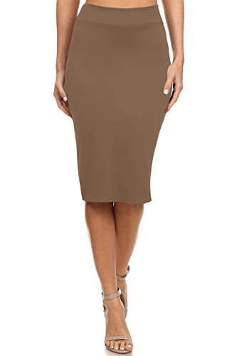 Simlu Womens Below the Knee Pencil Skirt for Office Wear - Made in USA, Taupe, Large