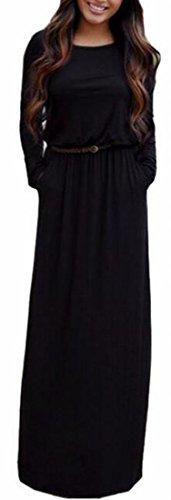 Tasche Lungo Vestito Rotonde Lunga Solide Collo Manica Cintura Donna Con Da Nera Jaycargogo Maxi EZnq4xU