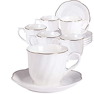 Ceramic Stripe Coffee Cups and Saucers Set - 7OZ New Bone China Durable Coffee Cups with Golden Wavy Edge Set of 6 for Cappuccino, Latte and Tea