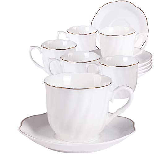 - Ceramic Stripe Coffee Cups and Saucers Set - 7OZ New Bone China Durable Coffee Cups with Golden Wavy Edge Set of 6 for Cappuccino, Latte and Tea