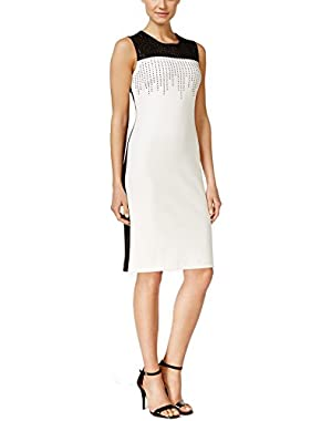 Calvin Klein Womens Colorblock Embellished Cocktail Dress