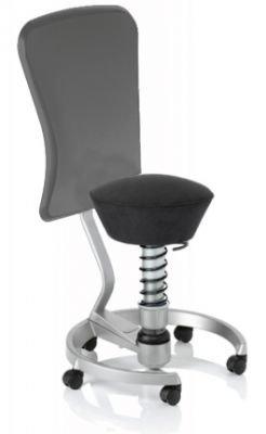 Aeris Swopper Classic - Bezug: Microfaser / Onyx-Schwarz | Polsterung: Tempur | Fußring: Titan | Spezial-Rollen für Teppichböden | mit Lehne und grauem Microfaser-Lehnenbezug | Körpergewicht: SMALL