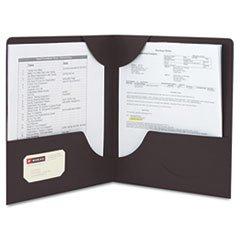 ** Lockit Two-Pocket Folder, Leatherette Stock, 11 x 8-1/2, Black, 25/Box