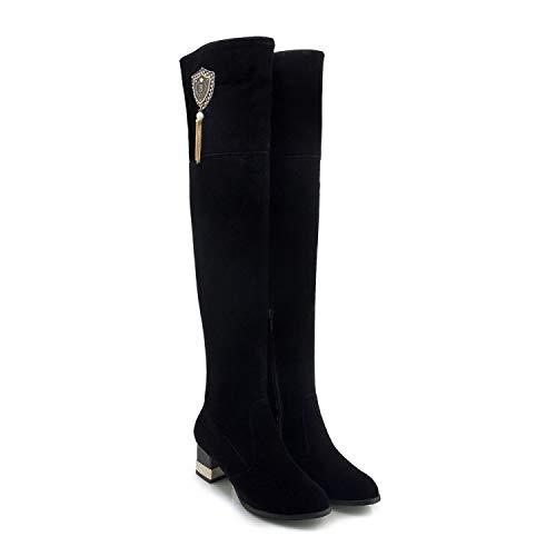 HRCxue Pumps Damenschuhe aus Wildleder mit mit mit dekorativen Quasten über den Knien schlanke Beine schwarz 34 53e65b