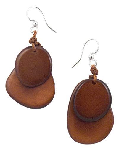 Organic Tagua Fiesta Dangle Drop Earrings Ecuador Chestnut