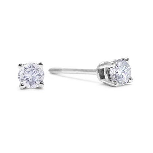 1/4 cttw 14k White Gold Round Diamond Stud Earrings (AGS Certified K L, I2 I3)