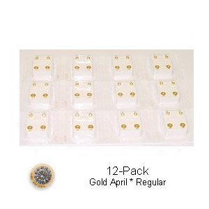 Studex Surgical Steel Ear Piercing Studs, 3mm, 12 Pair April Stone Set