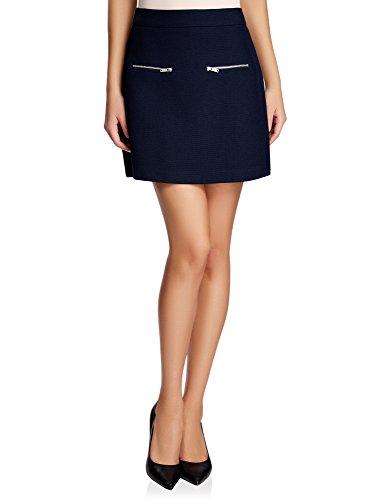 Trapze Femme Ultra Dcoratifs Zips Jupe Bleu 7900n avec oodji qCpwt5