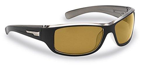 Flying Fisherman Helm Polarized Sunglasses, Matte Black-Gunmetal Frame, Yellow-Amber Lenses