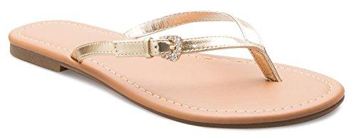 OLIVIA K Women's Crystal Bling Glitter Strap Flip Flop Thong Sandal