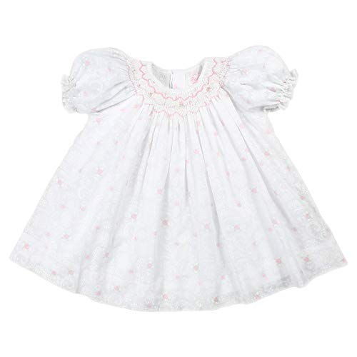 (Petit Ami Baby Girls' Hand-Embroidered Lace Voile Dress, 18 Months, White)