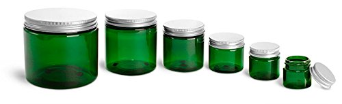 (1/2 Oz. Green Plastic Straight Sided Jars with Lined Aluminum Caps (144 Jars))