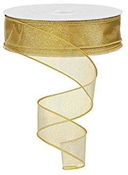 Sheer organza ribbon wired. color- tan gold. 11/2'' x 50 yard