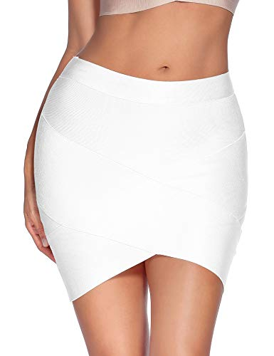 - Meilun Women's Rayon Bandage Bodycon Mini Skirt (Large, White)
