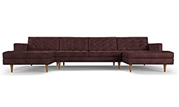 Enjoyable Amazon Com Eliot Mid Century Modern Leather U Chaise Short Links Chair Design For Home Short Linksinfo