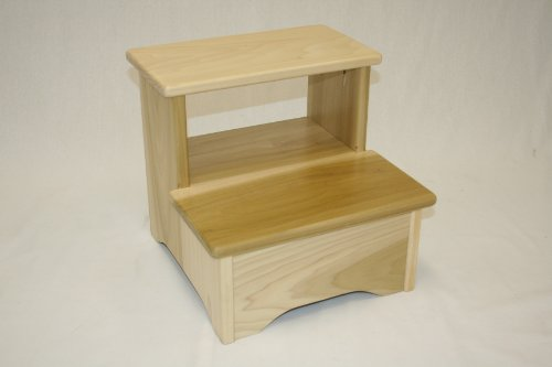 Amish Handcrafted Solid Wood Bed Stool-lmb- Natural by eHemco