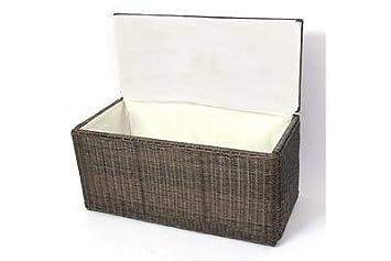 Kissenbox Naturgrau Polyrattan Aufbetrueungstruhe Kissen