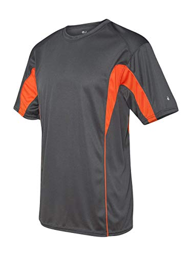 Badger - B-Core Drive Short Sleeve Colorblocked T-Shirt - 4147-Graphite/Burnt - Short Sleeve T-shirt Badger