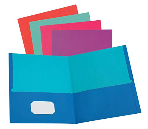 Oxford Two-Pocket Folders, Letter Size, Assorted Twisted Colors, 25 per Box (53274EE)
