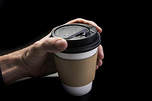 Cuperfect 12 Oz Paper Coffee Cups with Lids, Sleeves & Stirrers, Disposable to Go Cups for Hot Beverages and Cold Drinks, White, Pack of 50