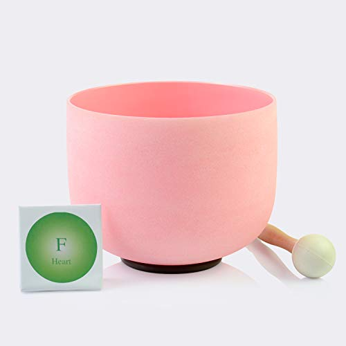 TOPFUND Singing Bowls F Note Crystal Singing Bowl Heart Chakra Pink Color 10 inch (O ring and rubber mallet Included)