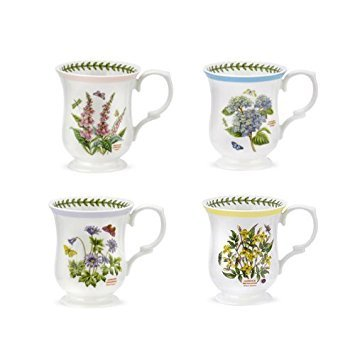 (PORTMEIRION BOTANIC GARDEN TERRACE Bell shape mugs asst set of 4)
