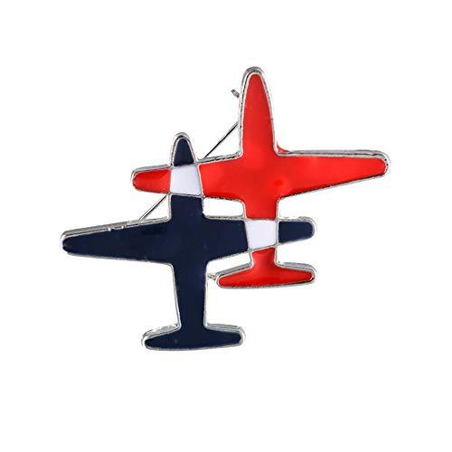 palettei Black & Red Stripe Airplane Brooch Pins Enamel Cartoon Plane Corsage for Women Men Costumes Aircraft Brooch Jewelry Accessory (B)