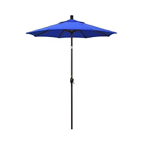 California Umbrella 6' Round Aluminum Market Umbrella, Crank Lift, Push Button Tilt, Bronze Pole, Sunbrella Pacific Blue from California Umbrella