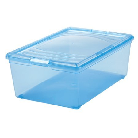 IRIS 13.5 Quart Modular Shoe Storage Box, Blue, Pack of 1