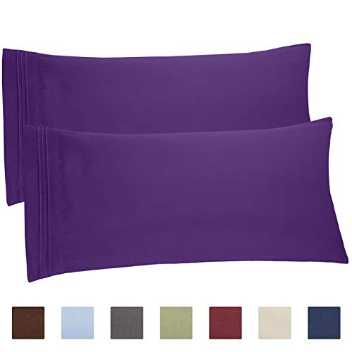 CGK Unlimited King Size Pillow Cases Set of 2 - Soft, Premium Quality Hypoallergenic Purple Pillowcase Covers - Machine Washable Protectors - 20x40, 20x36 & 20x48 Pillows for Sleeping 2 Pack - Pastel Satin Pillow