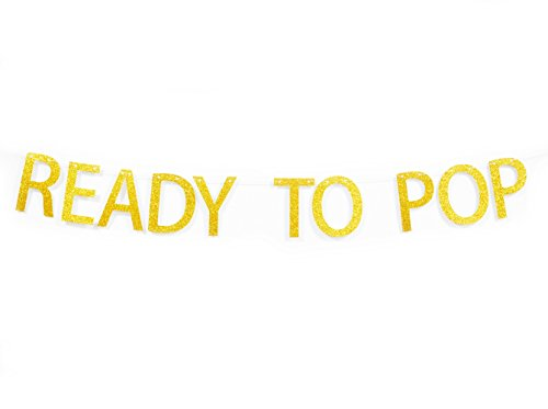 Ready To Pop Gold Glitter Banner For Pregnancy Announcement Baby Shower Gender Reveal