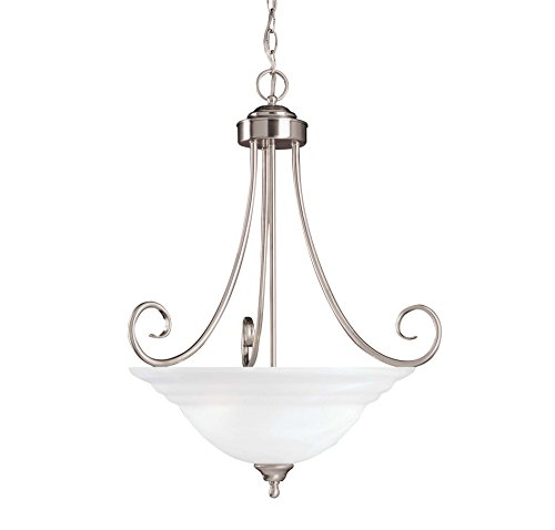 Savoy House 167-3-SN Pendant with White Marble Shades, Satin Nickel Finish