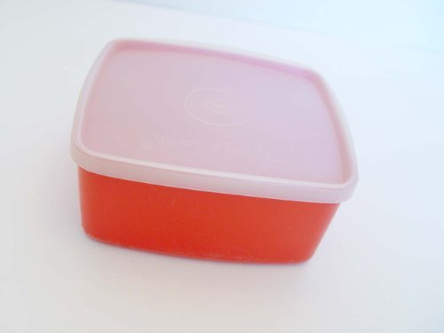 Tupperware 16 Ounce Square Round #311 Red with Sheer Seal # 310 (Tupperware Square Round Lids)