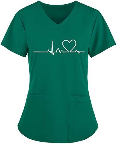 AIEIR Ziekenhuis sliphemd korte mouwen V-hals gemengde stof casack dames zorg met liefde motief bont arts uniform…