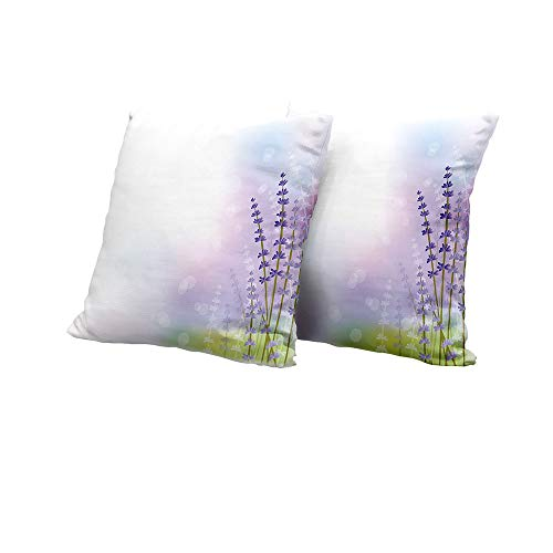 All of better Meditation Cushion Cover Lavender,Nature Inspired Abstract Backdrop with Gentle Pastel Lavender Stems,Violet Olive Green Lilac Outdoor Pillow Covers 14x14 INCH 2pcs