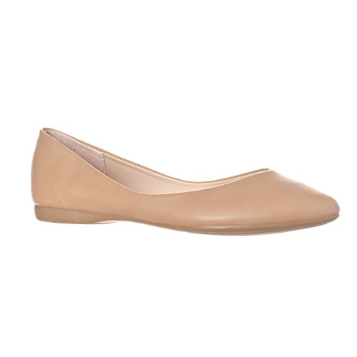 Riverberry Women's Ella Basic Closed Pointed Toe Ballet Flat Slip On Shoe, Taupe PU, 7 - Taupe Patent Footwear