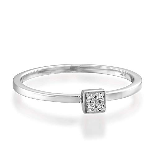 (1/20 ct Diamond Ring, Round Brilliant Cut in 14k White Gold - Stackable Collection)