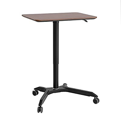 "SONGMICS Mobile Laptop Desk Rolling Cart, Height Adjustable Standing Table from 27.2"" to 41.3"", Laptop Stand Desk with Casters and Stable Aluminum Base for Home Office, Dark Walnut, ULAD03HB"