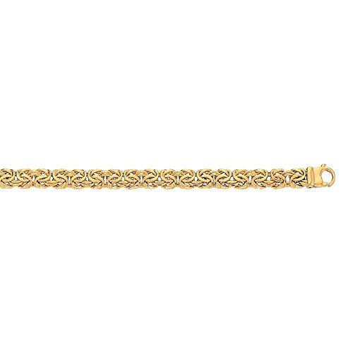 10K 7.25'' Yellow Gold 7.0mm Shiny Byzantine Fancy Ladies Bracelet with Lobster Clasp by BH 5 STAR Jewelry