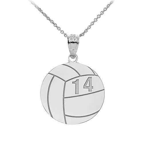 (Sports Charms 14k White Gold Personalized Beach Volleyball Necklace with Your Name and Number, 18