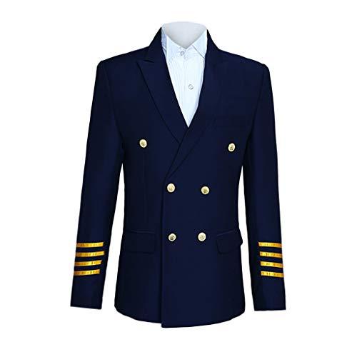 Birdfly Men Fashion Stripted Captain Performance Presenter Costume Formal Suit (2XL, Navy Captain) ()
