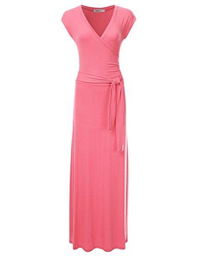 Shirred Dress Pattern (NINEXIS Women's V-Neck Cap Sleeve Waist Wrap Front Maxi Dress CORAL M)