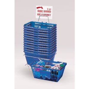 12 Blue Plastic Shopping Baskets by Retail Resource