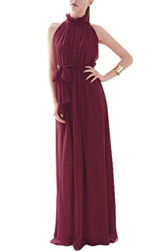 KAXIDY Elegante Vestidos Mujer Vestidos de Noche Vestidos de Cóctel Vestido Largo Rojo Vino