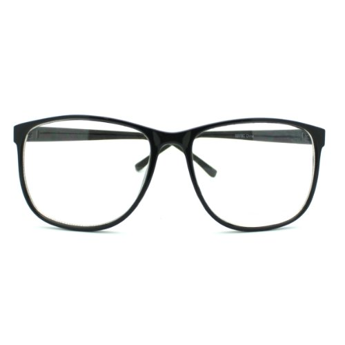 MJ Boutiques Black Large Nerdy Thin Plastic Frame Clear Lens Eye Glasses Frame