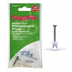 Medium Duty Plasterboard Plugs with Screws by SupaFix by SupaFix