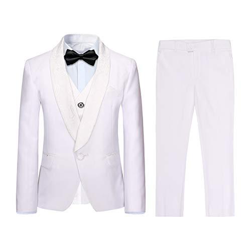 Boyland Boys 3 Pieces Tuxedo Suits Jacquard Shawl Lapel Slim Fit Tux Jacket Vest Pants 4 Colors Prom Party Wedding White